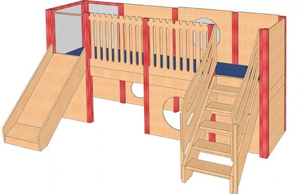 Mittlere Spielburg mit Treppe und Rutsche