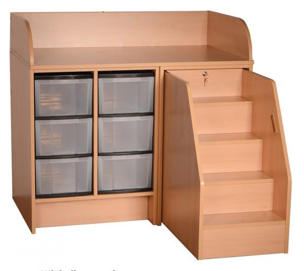 Wickelkommode mit Treppe und Modulboxen