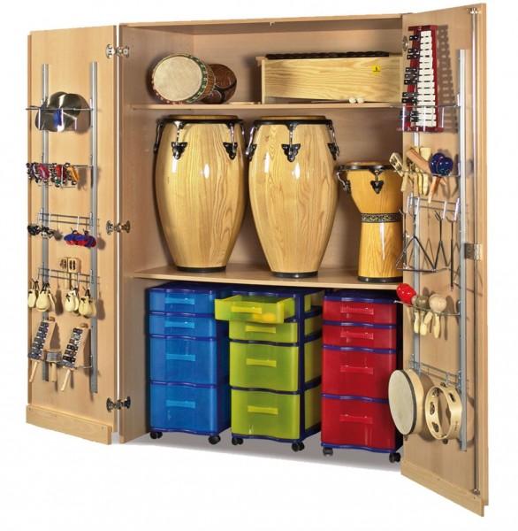 Musikinstrumentenschrank mit 3 fahrbaren Modulboxen