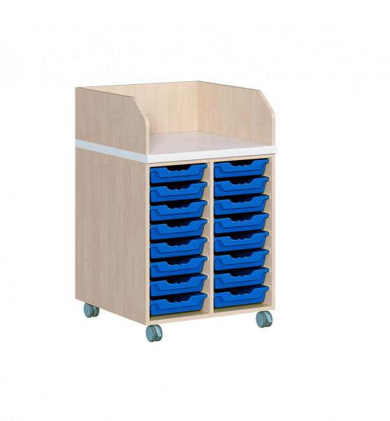 Fahrbare Wickelkommode mit 8 oder 16 ErgoTray Boxen inkl. Wickelauflage