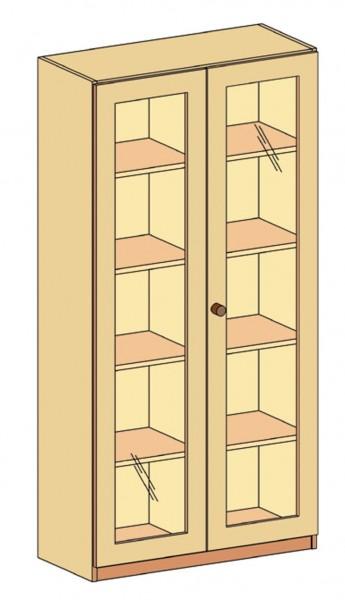 Schrank mit Doppeltür 3/3 Glasausschnitt und Mittelwand