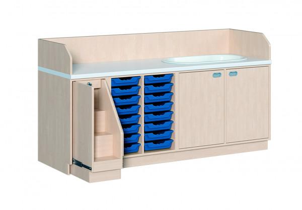 Wickelkommode mit 16 ErgoTray Boxen und Badewanne