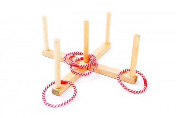 Zubehör Ringwurfspiel aus Holz mit 5 Ringen