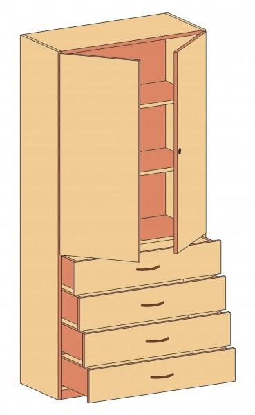 Schrank mit 4 oder 6 Schubladen