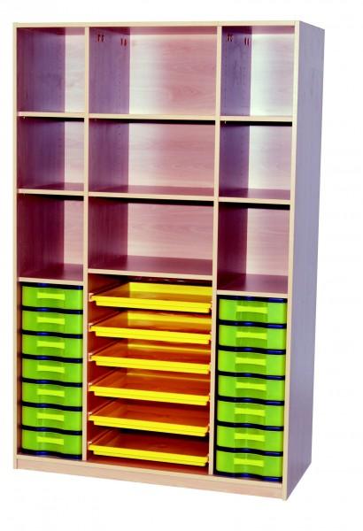 Materialschrank mit 6 Flachschüben und 2 Modulboxen