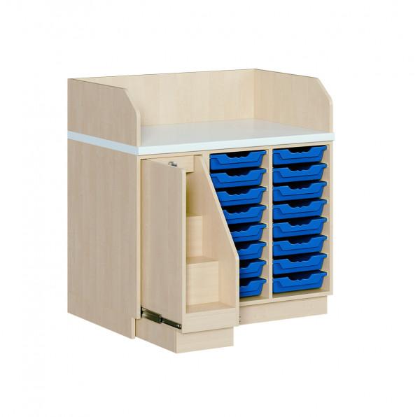 Wickelkommode mit 16 ErgoTrayboxen und Treppe