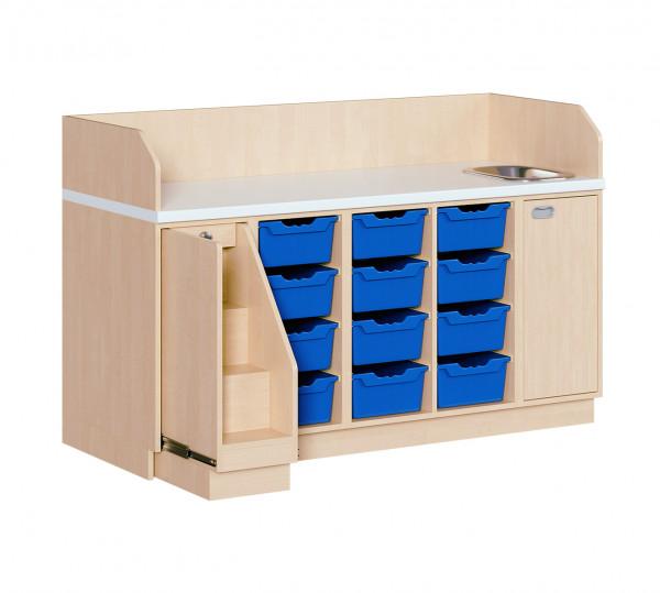 Wickelkommode mit 12 ErgoTray Boxen und Waschbecken
