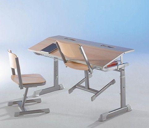 Schülertisch Lordo, höhenverstellbar mit Drahtkorbablage