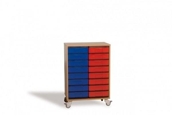 Fahrbares InBox Regal mit 16 Boxen