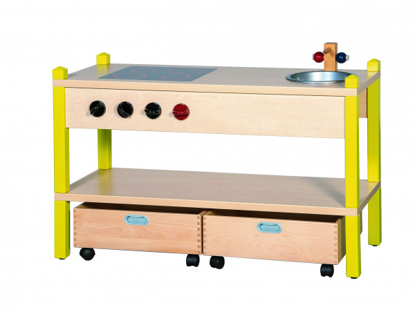 Spielküche mit Massivholz-Rollkästen