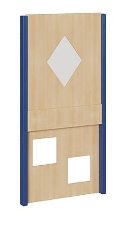 Seitenelement für kleine Spielburgen, unten 2 Quadrate, oben Rhombus mit Plexiglas, verschiedene Bre