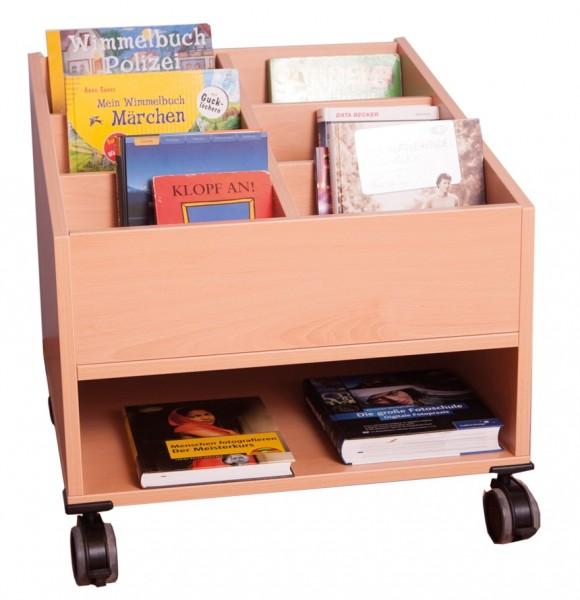 Fahrbarer Büchertrog mit 6 Büchermulden und 1 Regalfach
