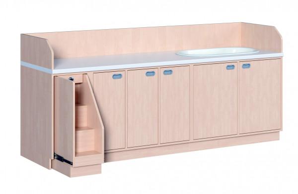 Wickelkommode mit Türen, 9 Einlegeböden und Badewanne