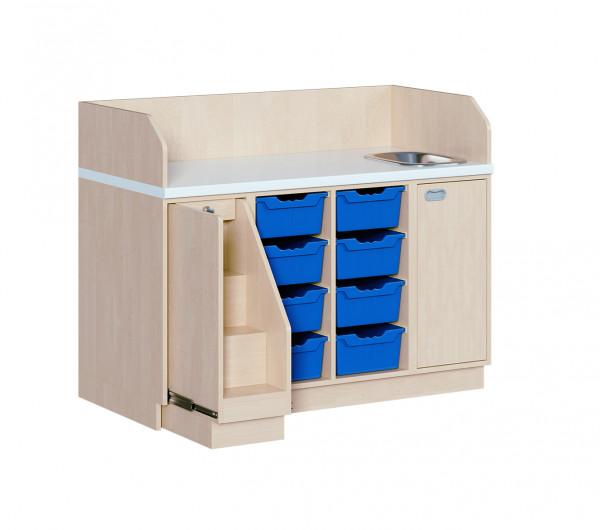 Wickelkommode mit 8 ErgoTray Boxen und Waschbecken