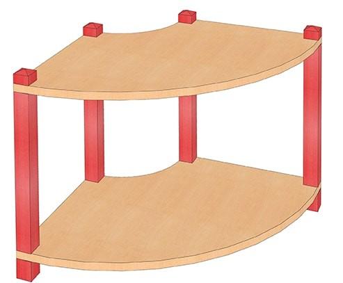 Stollenregal Viertelbogen mit 2-4 Einlegeböden