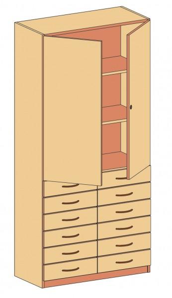 Schrank mit Schubkästen und Habltüren, abschließbar