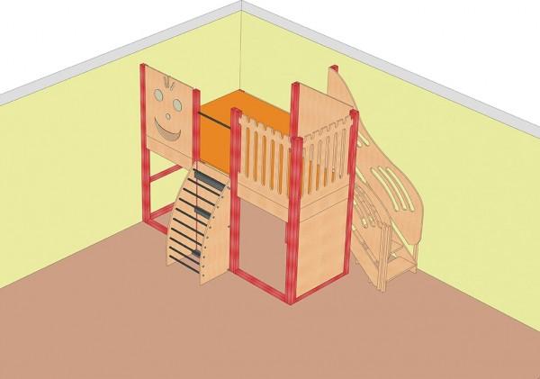Große Spielburg mit bogenförmiger Sprossenwand