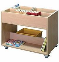 Fahrbarer Bücherwagen mit 4 Büchermulden und 2 Ablagen