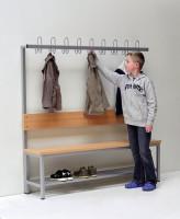 Komplett-Garderobe, Umkleidebank einseitig oder doppelseitig mit Dreifachhaken & Schuhrost in versch