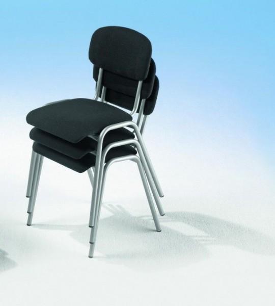 4-Fuß Stapelstuhl mit Rundrohrgestell, Sitz- und Rückenpolster