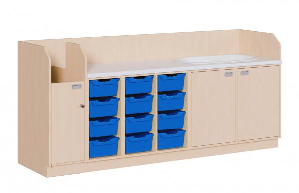 Wickelkommode mit 12 ErgoTray Boxen und Badewanne + Aufgang