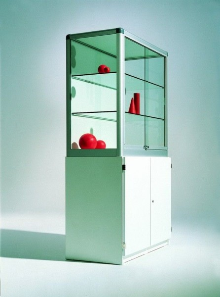 Glasvitrine aus Sicherheitsglas, mit Unterschrank