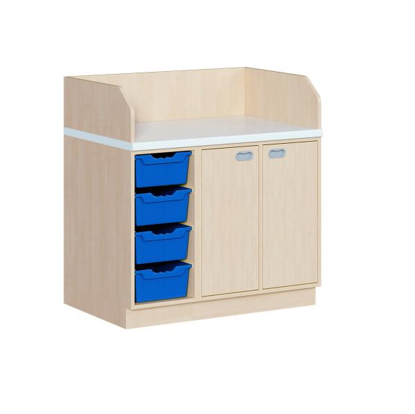 Wickelkommode mit 4 ErgoTrayboxen und Türen