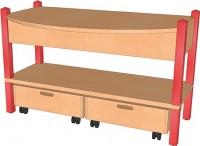 Spieltisch mit Rollkästen