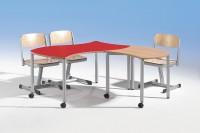 Tisch quadrat mit Wellenkante und Rundrohrstahlgestell, 60 x 60 cm, fahrbar oder feststehend in ver