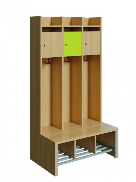 Spindgarderobe mit kleiner Tür, 4 Plätze