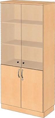 Kombinationsschrank mit Glas- und Holztüren