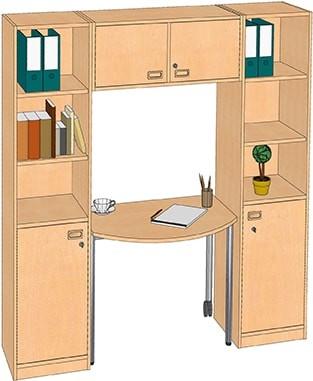 ErzieherInnen-Arbeitsplatz mit offenen Regalfächern und Türen