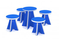 """Kindersitzgruppe """"Spiekeroog"""" mit drehbarem Tisch und Hockern"""