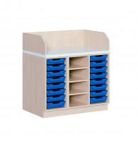Wickelkommode mit 8 oder 16 ErgoTray Boxen und Regal