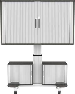 Fahrbarer Display-Rolloschrank, elektrisch höhenverstellbar