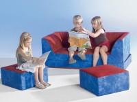 Kinder Klappcouch mit 2 Sesseln - Kunstleder
