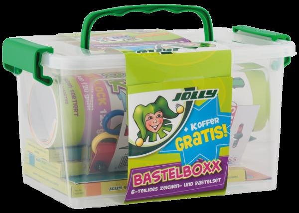 JOLLY- Bastelbox mit Schere, Klebe, Block und vielen Stiften
