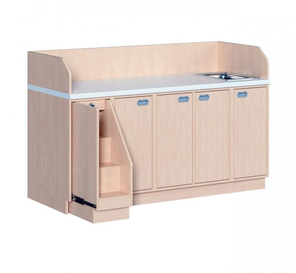 Wickelkommode mit Türen, 9 Einlegeböden und Waschbecken