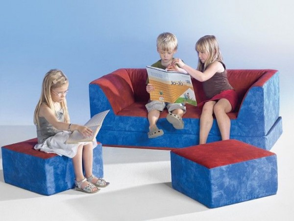 Kinder Klappcouch mit 2 Sesseln - Stoffbezug