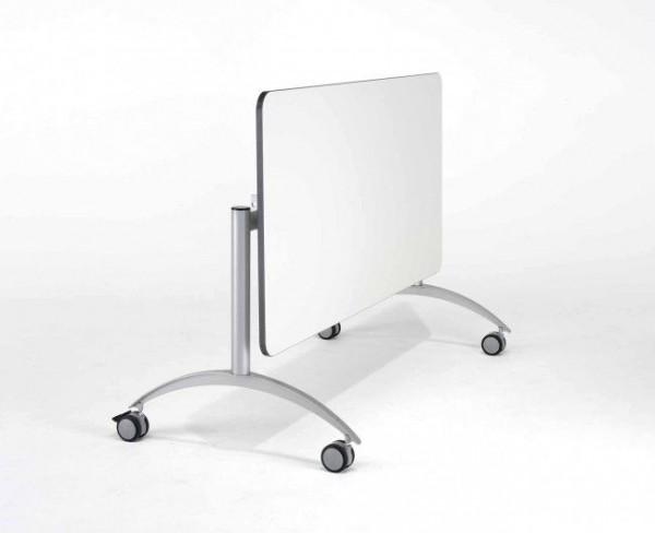 Fahrbarer Seitenklapptisch mit Vollkernplatte