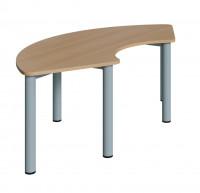 Drittelkreis Tisch 173 x 80 cm mit Rundrohrgestell in verschiedenen Höhen