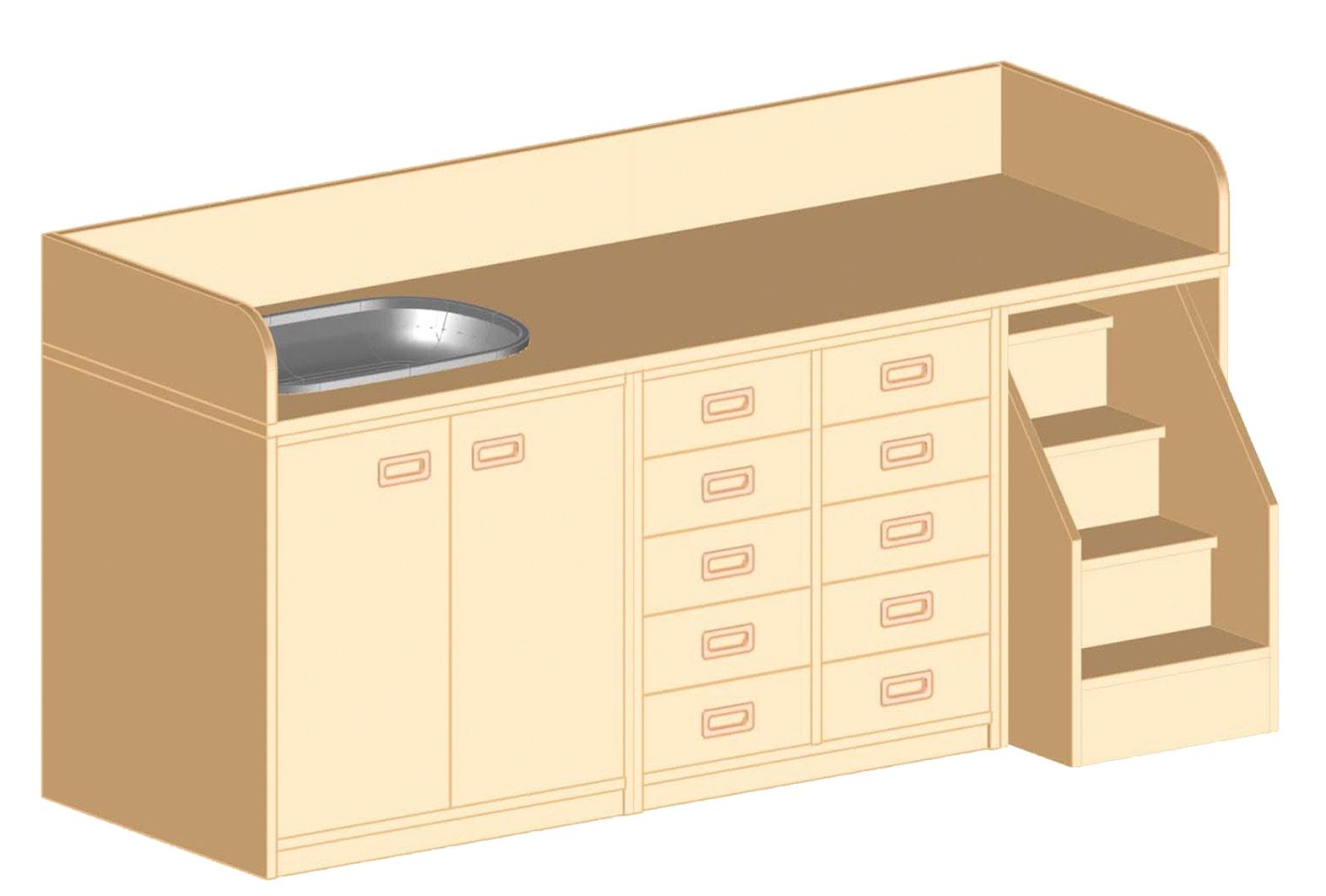 wickelkommode mit badebecken und treppe online bestellen. Black Bedroom Furniture Sets. Home Design Ideas