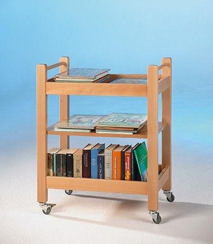 Fahrbarer Bücherwagen mit 3 Ablagen