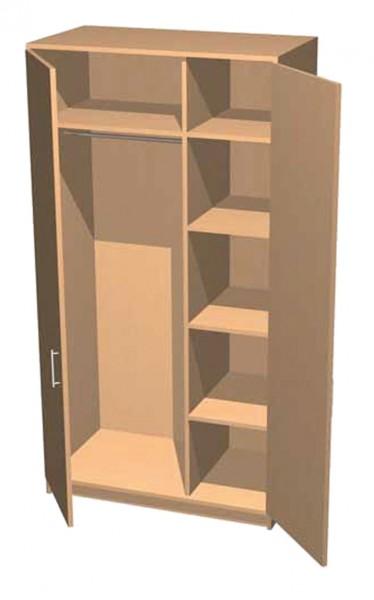 Garderobenschrank mit Mittelwand und 4 Einlegeböden