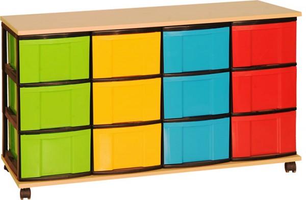 Light-Materialcontainer mit bunten Kunststoffboxen