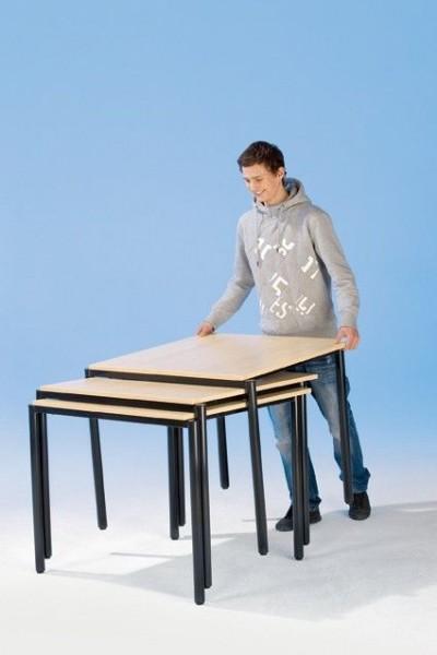 Fahrbarer Quadrat-Tisch mit melaminbeschichteter Spanplatte, verschiedene Plattenmaße