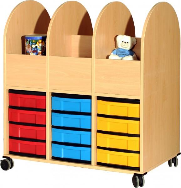 Bücherwagen mit Modulboxen