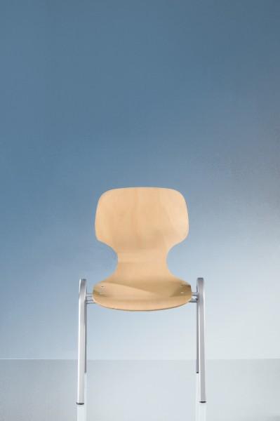 4-Fuß Stapelstuhl mit Rundrohrgestell, wählbar mit/ohne Sitz- und Rückenpolster