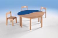 Halbrundtisch mit Wellenkante und Holzgestell, 120 x 60 cm, verschiedene Höhen